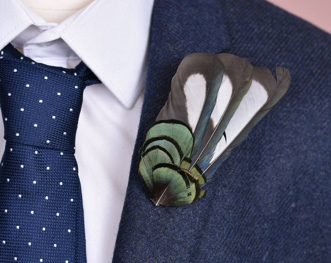 Magpie and Pheasant Feather Lapel Pin in Iridescent Green and Black Small No.114