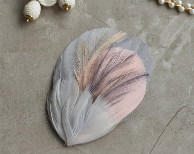 Feather Hair Clip in Soft Grey and Blush Pink