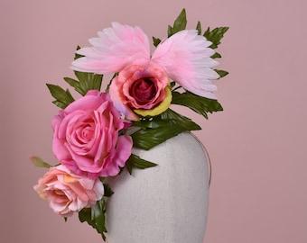 Sculptural Pink Roses Headpiece