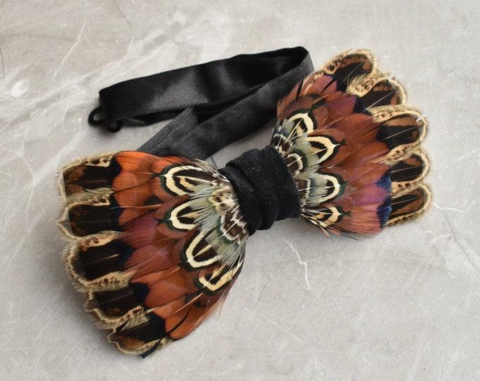 Pheasant Feather Bow Tie No.17
