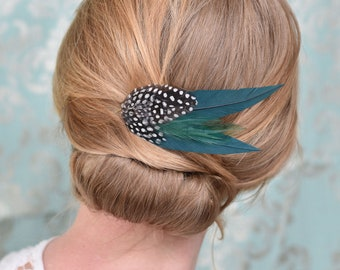 Feather Hair Clip in Deep Green and Spotted Guinea Fowl