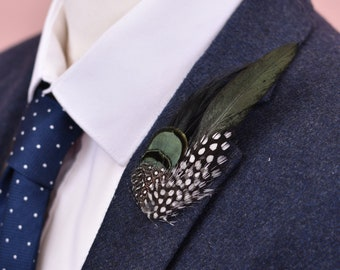 Black and Green Feather Lapel Pin
