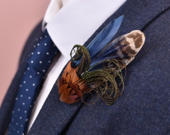 Feather Lapel Pin in Navy Blue and Copper Pheasant