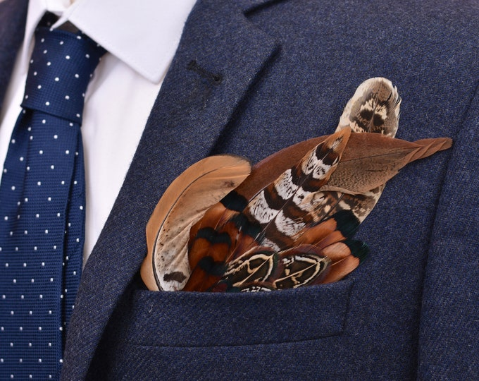 Pheasant Feather Pocket Square No.6