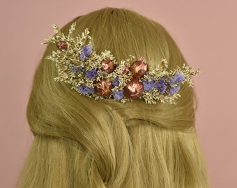 Dried Flower Hair Comb in Ivory, Lilac and Copper