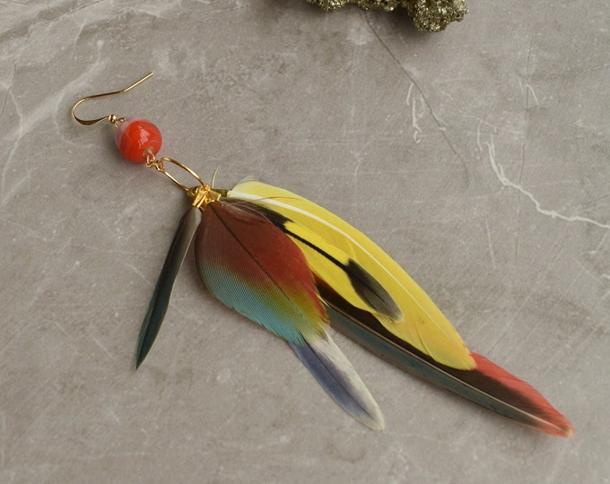Single Tropical Feather Earring