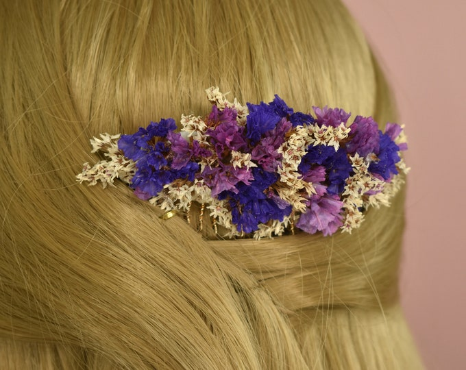 Dried Flower Hair Comb in Blue, Pink and Off-white