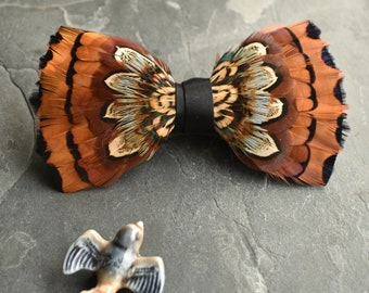 Mixed Pheasant Feather Bow Tie