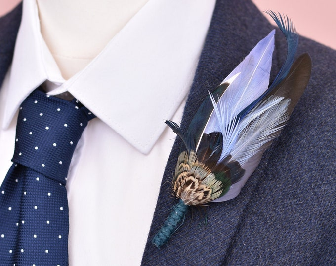 Navy Blue Duck and Pheasant Feather Lapel Pin No.109