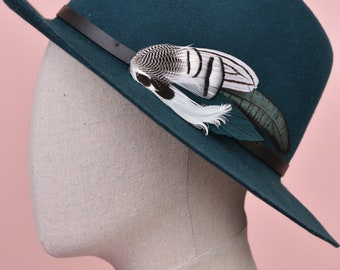Deep Green and Monochrome Feather Lapel Pin No.86