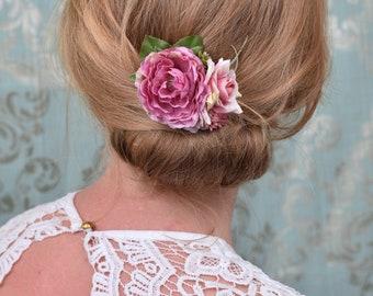 Vintage Pink Flower Hair Clip Peonies and Roses