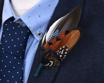 Pheasant and Duck Feather Lapel Pin / Hat Pin No.210