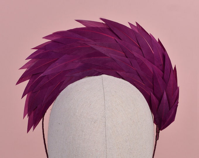 Plum Purple Halo Feather Headpiece