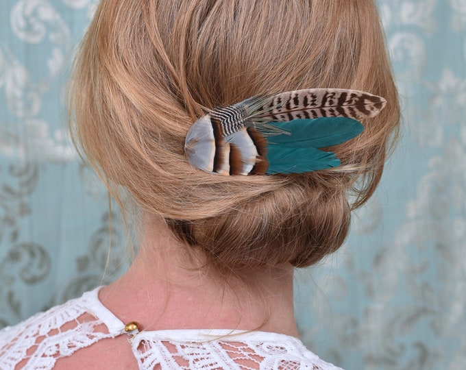 Burgundy, Partridge and Pheasant Feather Hair Clip