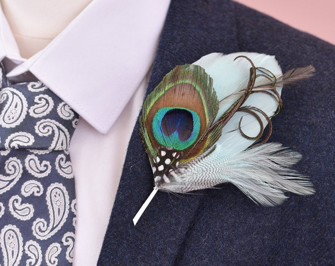 Mint Green and Peacock Feather Lapel Pin