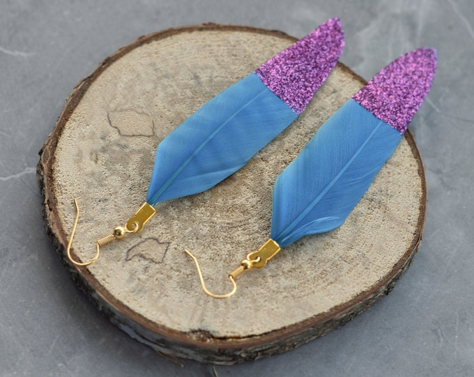 Bright Blue Feather Earrings with Pink Glitter Tips