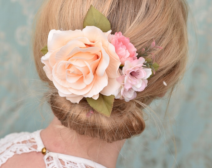 Peach and Pink Vintage Style Rose Flower Hair Clip