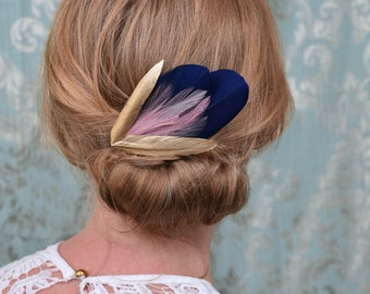 Feather Hair Clip in Navy, Gold and Blush