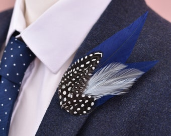 Navy Blue and Spotted Feather Lapel Pin