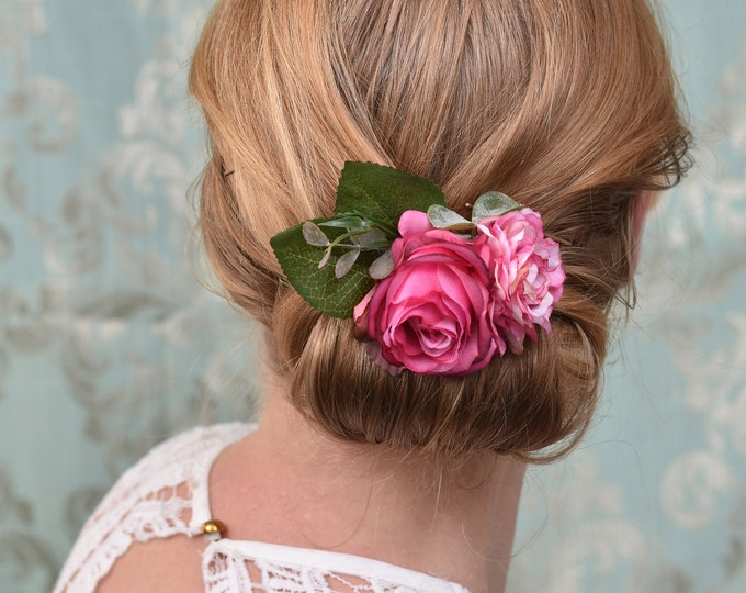 Bright Pink Rose and Peony Flower Hair Clip
