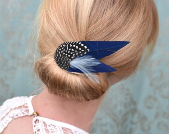 Feather Hair Clip in Navy Blue and Spotted Guinea Fowl