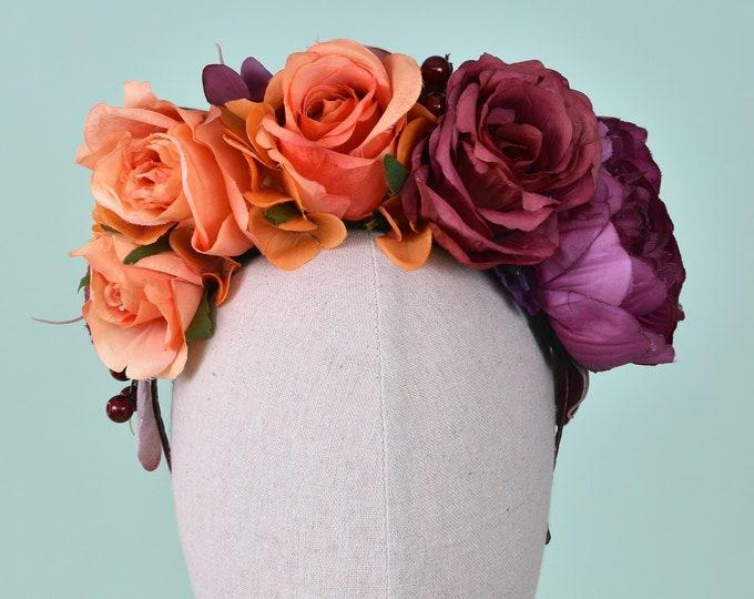 Halley -  Purple and Orange Flower Crown Headband