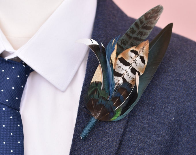 Navy Blue and Green Feather Lapel Pin No.117