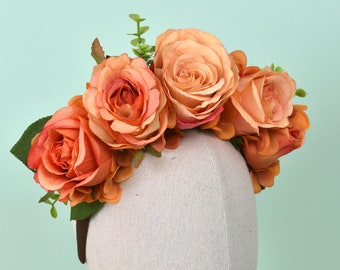Orla - Roses Flower Crown Headband in Orange