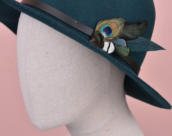 Deep Green and Peacock Feather Hat Pin / Lapel Pin No.88