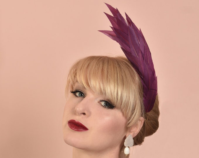 Sculptural Plum Purple Feather Headband