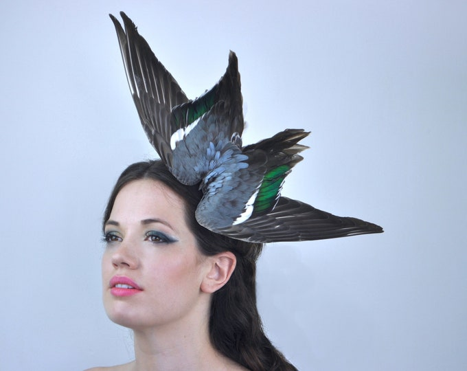 Diving Bird Wing Feather Headpiece in Teal and Soft Grey Blue | Wing Headpiece | Ascot Headpiece | Races Fascinator | Bird Headpiece |