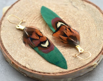 Green and Copper Small Feather Earrings