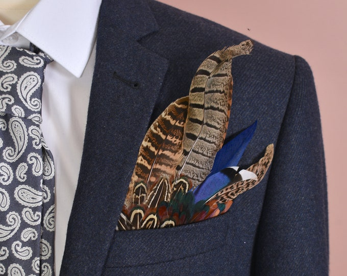 Navy Blue and Pheasant Feather Pocket Square No.5