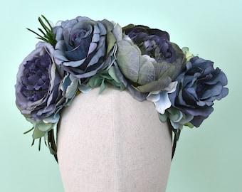 Oceana -  Flower Crown Headpiece in Blue