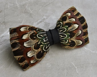 Pheasant Feather Bow Tie No.12