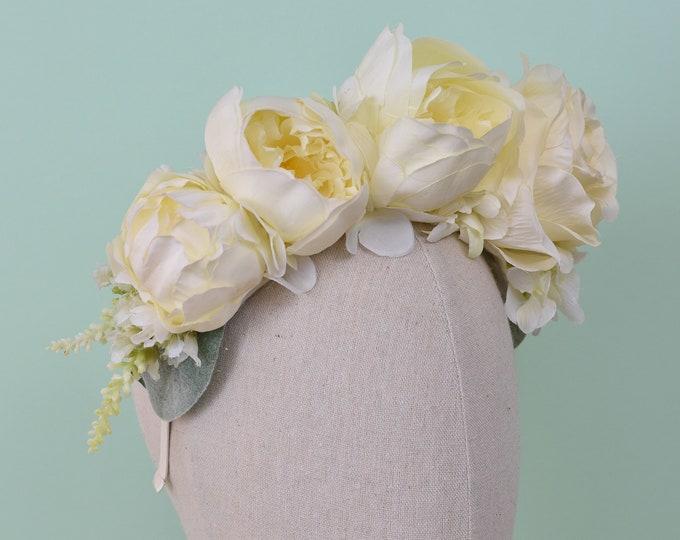 Ivy - Ivory Bridal Flower Headband