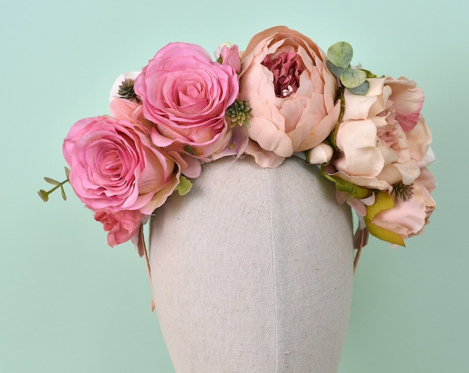 Lola   - Blush Pink Flower Crown Headpiece