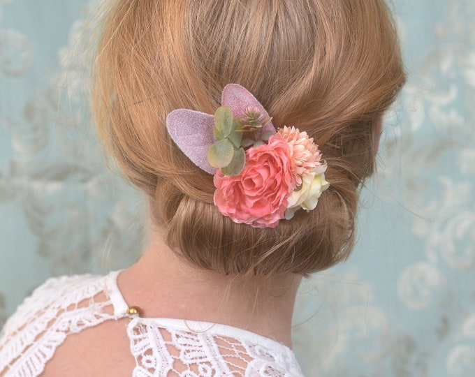 Flower Hair Clip in Coral Pink, Blush and Lemon