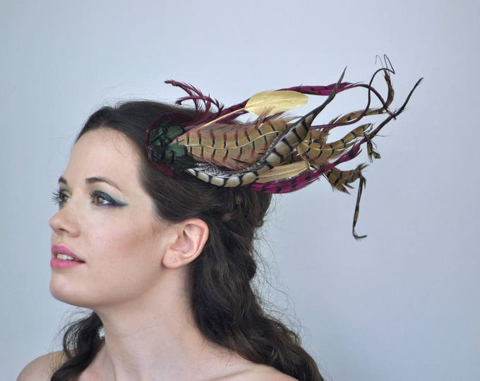 Plum and Gold Feather Fascinator