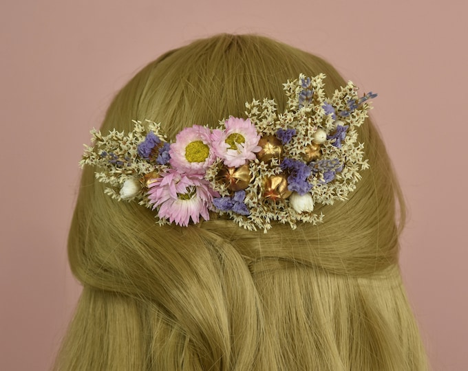 Dried Flower Hair Comb in Ivory, Pastel Pink, Lavender and Gold Love in the Mist Seed Pods