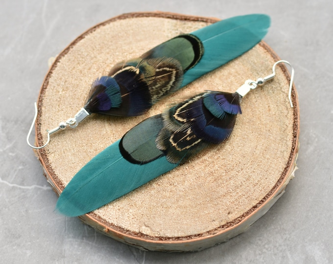 Teal, Navy Blue and Green Feather Earrings