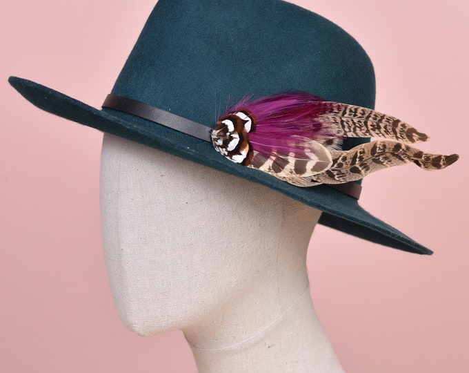 Plum and Blonde Pheasant Feather Hat Pin /  Lapel Pin No.125