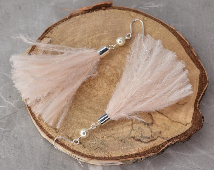 Blush Pink Ostrich Feather Tassel Earrings