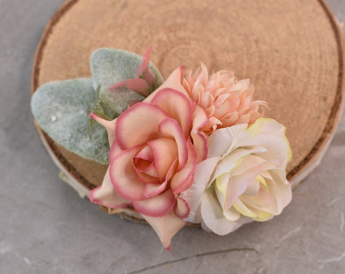Blush Pink and Ivory Mini Flower Hair Clip