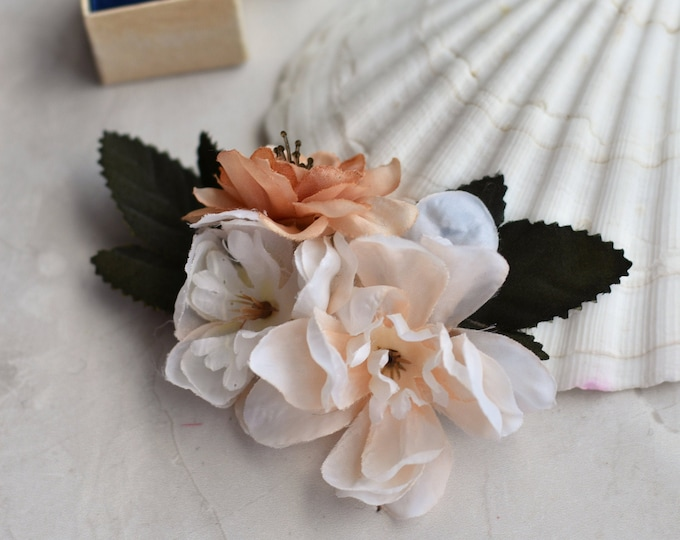 Apricot and Blush Blossom Flower Hair Clip