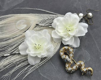 White Cherry Blossom Hair Slides | White Flower Bobby Pins | White Blossom Hair Clip