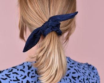 Vintage Red Floral Block Print Hair Scrunchie