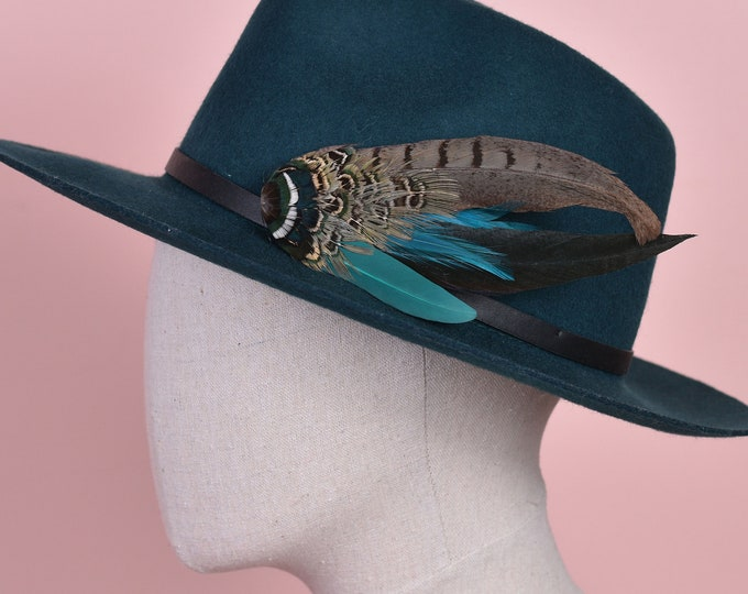 Green and Teal Pheasant Feather Hat Pin No.144