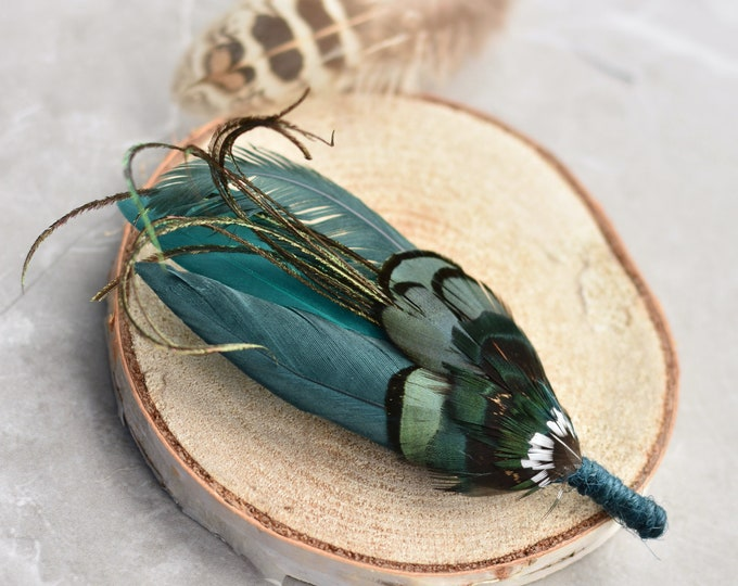 Bottle Green Duck and Pheasant  Feather Lapel Pin Small No.112