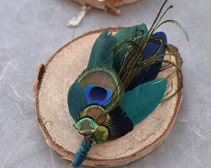 Green and Teal Peacock and Duck Feather Hat Pin / Lapel Pin No.207